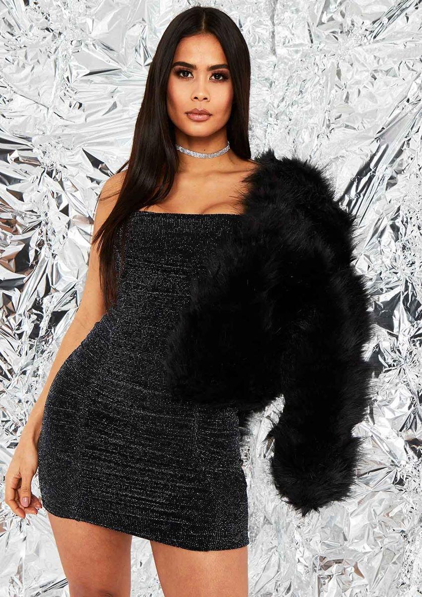 Aniyah Black Cropped Shaggy Faux Fur Coat