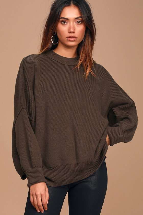 Easy Street Brown Oversized Tunic Sweater