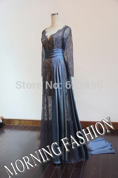 Morning fashion blake lively v neck long sleeves celebrity dresses 2014 evening gown sliver gray lace custom made real picture
