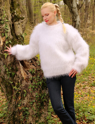 sweater hand knit made mohair blouse jumper pullover supertanya soft fluffy angora cashmere alpaca wool