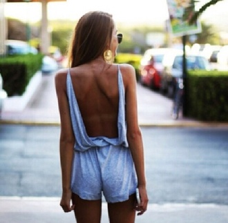 dress romper blue playsuit denim look low back baggy playsuit