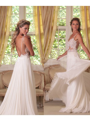Buy Trendy Popular White Lace A-line Straps Sweep Train Chiffon Wedding Dress under 300-SinoAnt.com