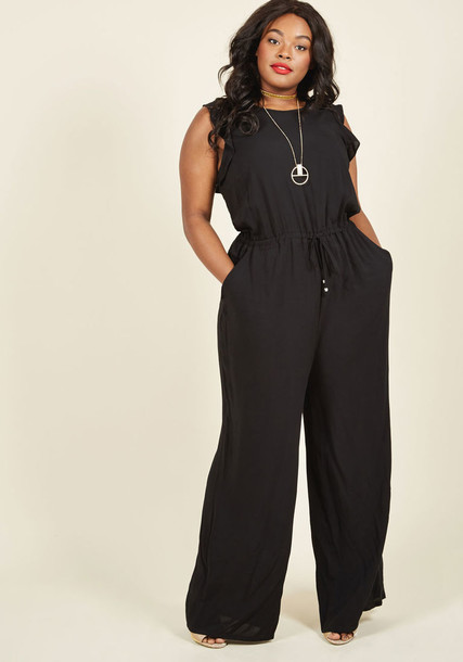 MCB1093A jumpsuit black jumpsuit back long open open back scalloped layered black