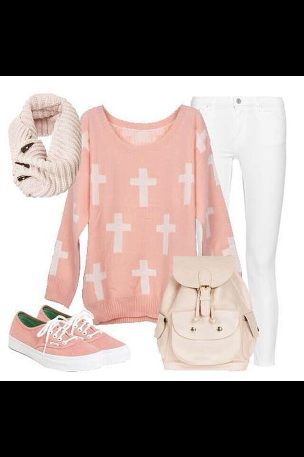 scarf shoes sweater jeans pants pastel cute pink light pink white crosses backpack girly outfit outfit idea cross hipster pullover vans knitted scarf skinny jeans