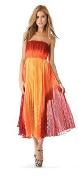 dress sunset orange yellow strapless dress ombre dress