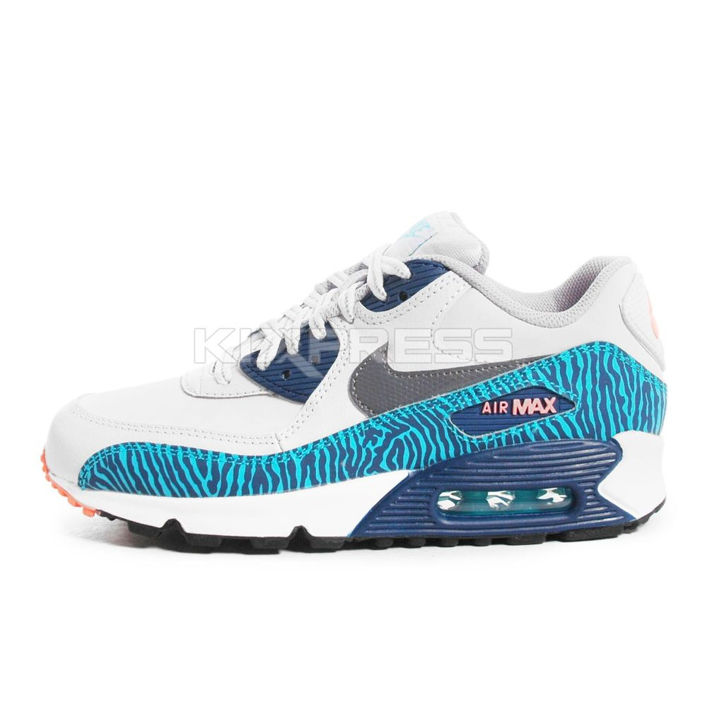 Nike Air Max 90 GS 307793 087 NSW Running Zebra Gry Wolf Grey Brave Blue | eBay
