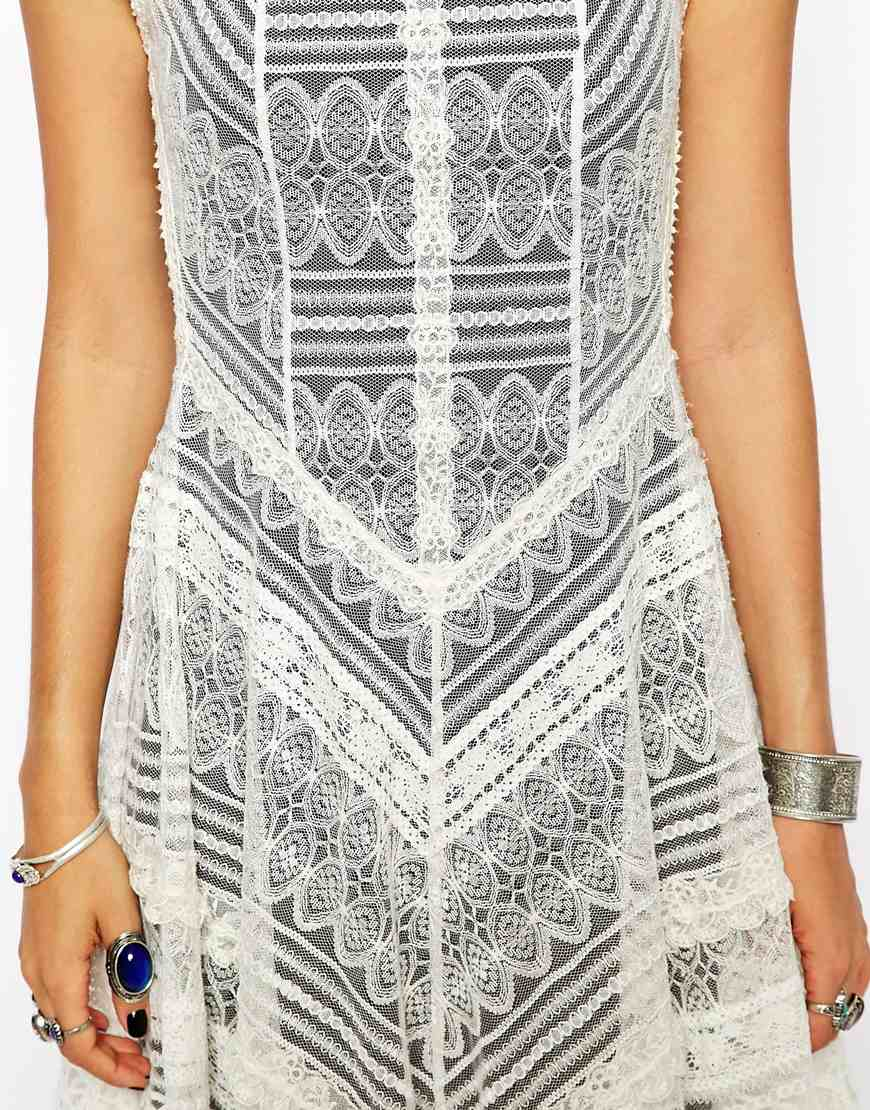 Free People Slip Dress in Lace at asos.com