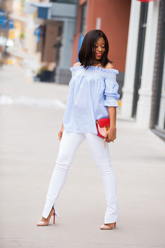 jadore-fashion blogger top jeans bag blue top white pants pumps nude heels spring outfits