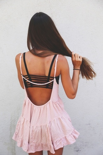 dress pink polkapink polka dots ruffle girly flowers underwear black crop tops summer brandy melville jada dress brassiere drop back dress tumblr adorable cute dress pink dress swimwear beautiful backless urban outfitters girl hair fashion flow bra cool back traces rose summer dress