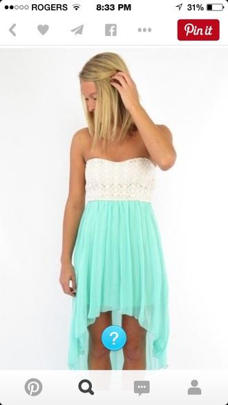 dress mint high low dress