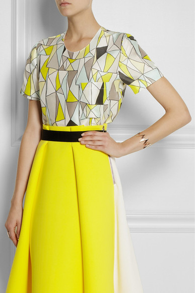 yellow shirt skirt printed silk-dupion and silk-chiffon top grey top roksanda ilincic
