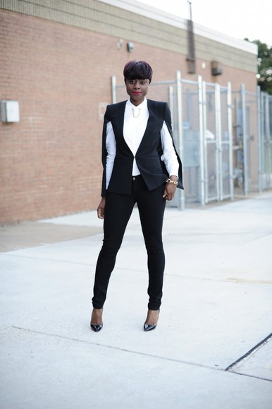 blogger jeans jacket black and white skinny hipster tailoring