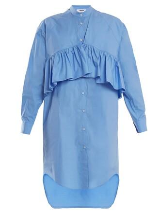 shirtdress oversized ruffle cotton blue dress