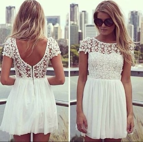 Outletpad | White Lace Dress Rounded neckline with opening in the back | Online Store Powered by Storenvy