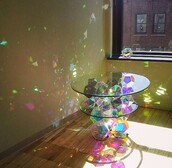home accessory,table,glass table,glass rainbow table,colorful,rainbow
