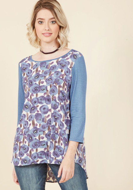 T336-02 top floral top casual long floral blue knit