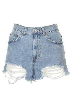 MOTO Bleach Ripped Mom Shorts - Topshop