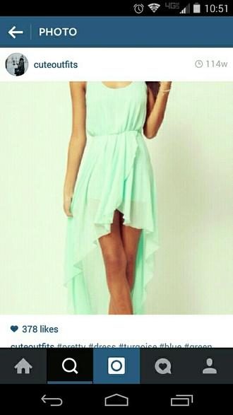 dress mint dress high low dress