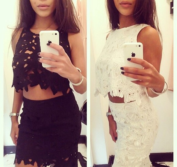 little black dress top lace dress skirt crop tops white dress