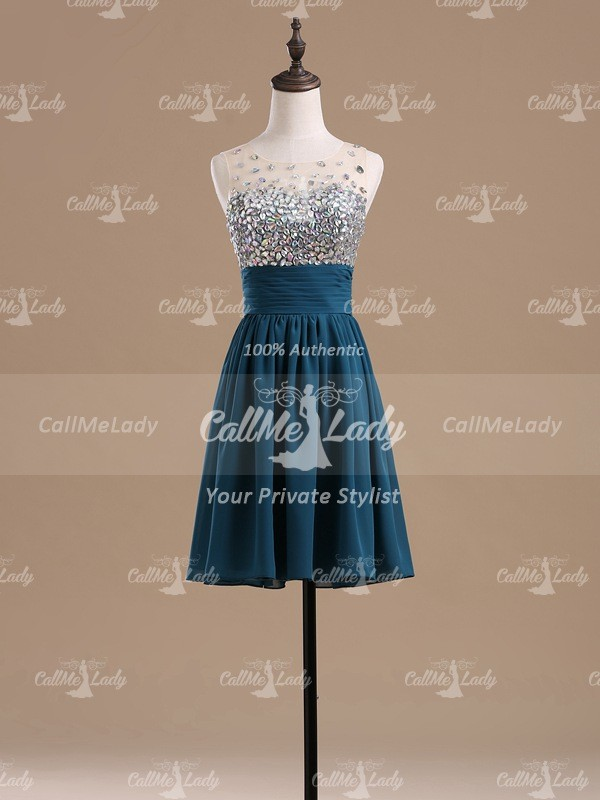 Dark turquoise sleeveless crystal short party dresses / homecoming dresses - CallMeLady
