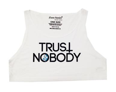 """trust nobody"" crop tank"