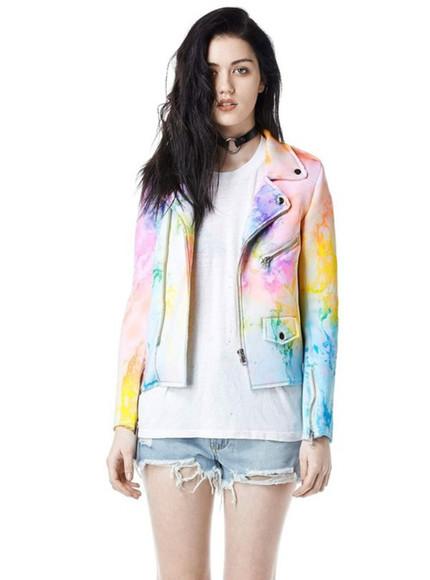 jacket moto jacket tie dye