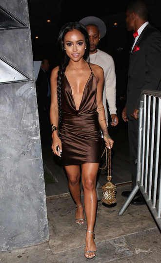 dress plunge dress brown dress mini dress sandals karrueche purse shoes