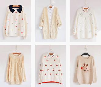 buttons sweater cardigan collar pastel yellow christmas sweater polka dots