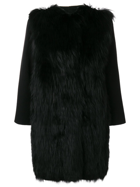 SIMONETTA RAVIZZA coat fur fox women black silk wool