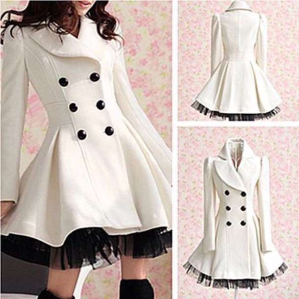 coat white long coat with ruffles
