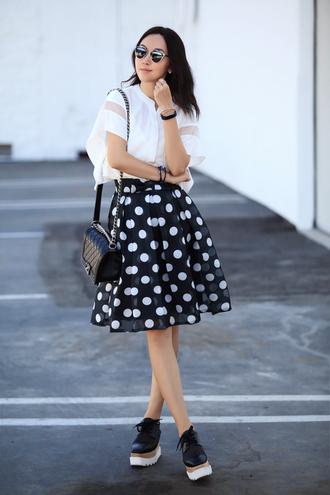 fit fab fun mom blogger top skirt shoes bag sunglasses jewels white top mesh top short sleeve polka dots polka dot skirt midi skirt high waisted skirt dior sunglasses dior so real chanel chanel bag chanel boy stella mccartney black shoes platform shoes