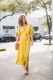 dress,maxi dress,yellow,v neck dress,v neck,yellow dress,sandals,wedge sandals