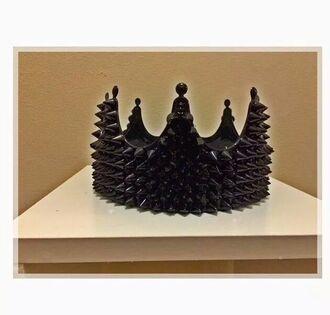 hair accessories crown black on black studs