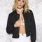 Black lace up satin bomber jacket