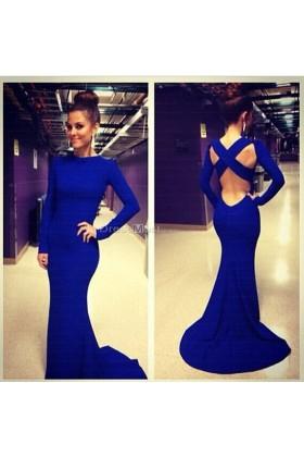 Elegant satin high neck natual royal blue prom dress