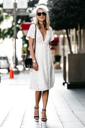 fashionjackson,blogger,dress,bag,shoes,sunglasses,jewels,midi dress,white dress,black bag,shoulder bag,sandals,high heel sandals,wrap dress,tumblr,sandal heels,black sandals