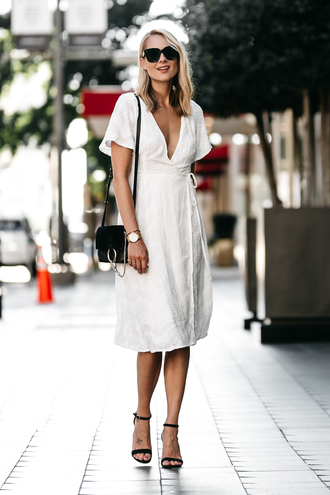 fashionjackson blogger dress bag shoes sunglasses jewels midi dress white dress black bag shoulder bag sandals high heel sandals wrap dress tumblr sandal heels black sandals