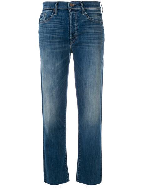 Mother cropped women spandex cotton blue pants