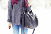 sweater,grey,comfy,winter outfits,fall outfits,scarf,burgundy,red,jeans,bag