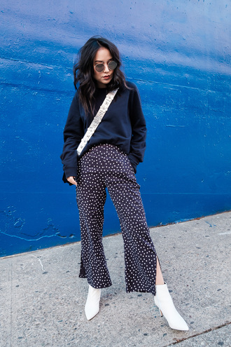 pants tumblr wide-leg pants polka dots sweater navy navy sweater boots white boots ankle boots sunglasses