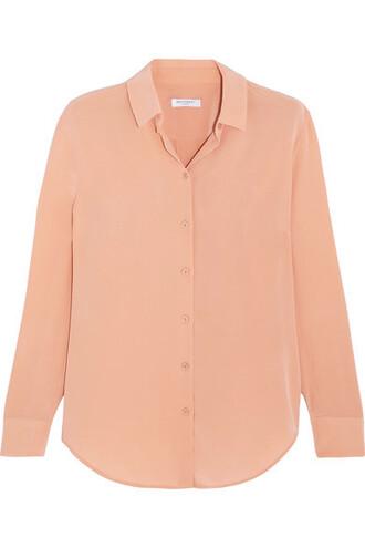 shirt silk orange top