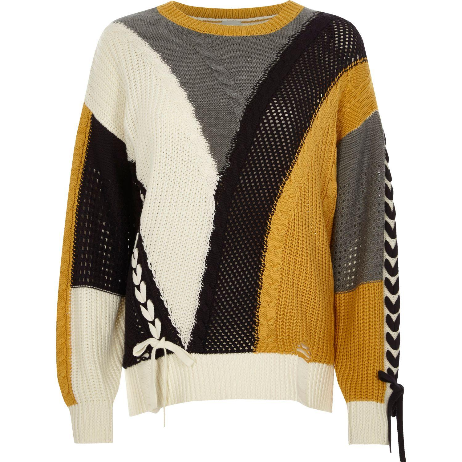 02717f03 River Island | Natural Cream Colour Block Ladder Lace-up Jumper | Lyst