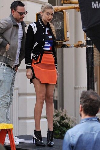 skirt gigi hadid ankle boots jacket