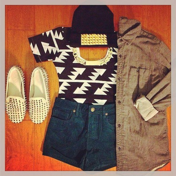 hat bonnet shorts veste fashion cloud clous shirt blouse