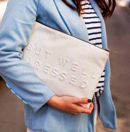 Zara stressed but well dressed clutch bag white