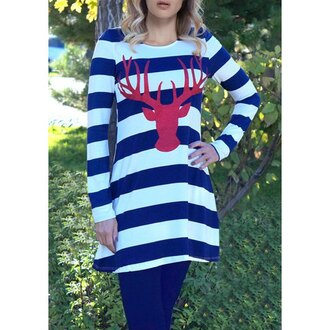 top white blue deer stripes casual long sleeves trendy rose wholesale-dec