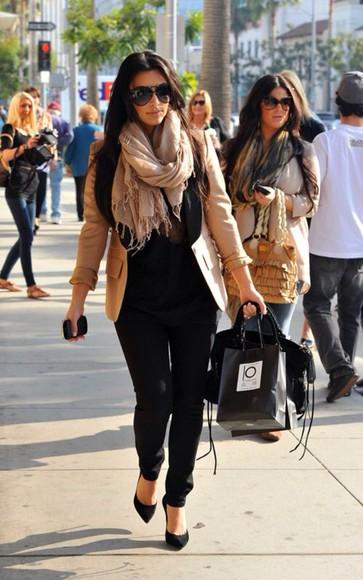 jeans black jeans shoes sunglasses jacket kim kardashian aviator sunglasses scarf on point stilettos
