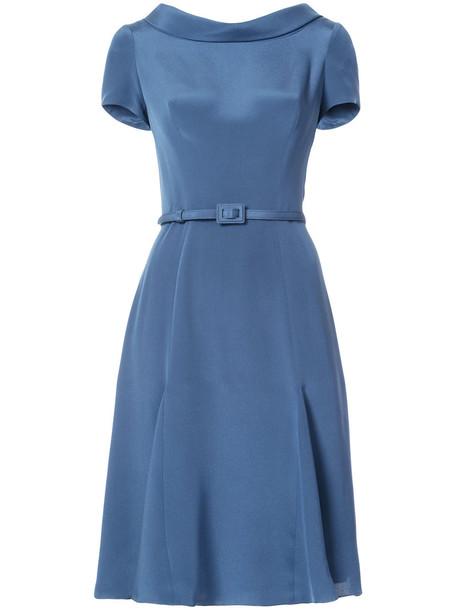 dress midi dress women midi blue silk
