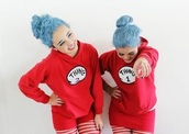 sweater,thing 1,thing 2,dr.suess,hoodie,outfit,cute,bff,fashion,red,ideas,bestfriend sweaters,matching set,matching couples,gift ideas