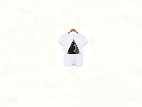triangle t-shirt indie eye evil eye black and white super rad